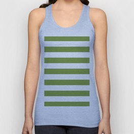 Green and White Stripes Unisex Tank Top