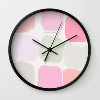 pastel Wall Clocks featuring Pastel by Georgiana Paraschiv