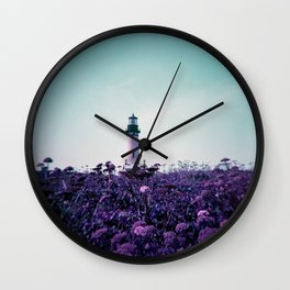 Yaquina Head Lighthouse on Purple Lomo Film - Holga Photograph Wall Clock