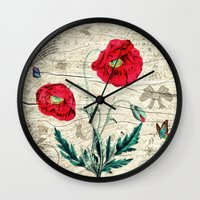 romantic Wall Clocks featuring Romantic by Susann Mielke