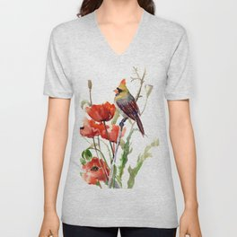 Cardinal Bird And Poppy Flowers Unisex V-Neck
