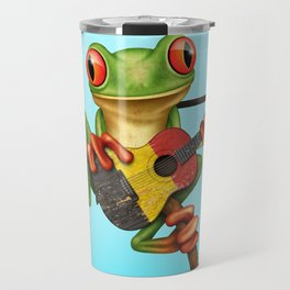 Tree Frog Playing Acoustic Guitar with Flag of Belgium Travel Mug