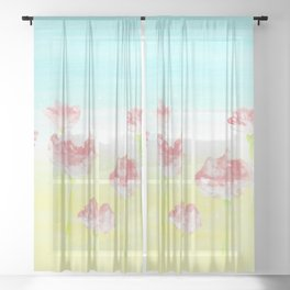 Flowers in the country Sheer Curtain