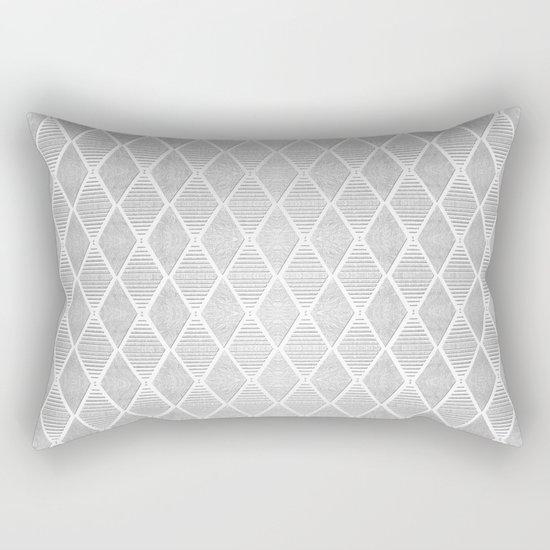 White and Silver Geometric Pattern Rectangular Pillow