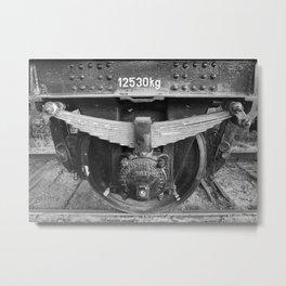 Old train wheel BW Metal Print