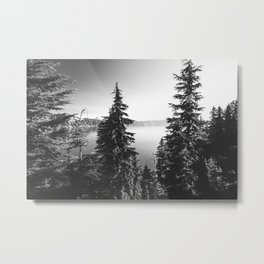 Mountain Lake Forest Black and White Nature Photography Metal Print