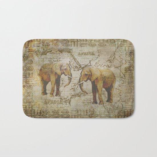 Spirit of Africa Elephant mixed media art Bath Mat