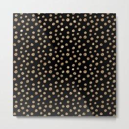 Black & Gold Glitter Polka Dot Pattern Metal Print