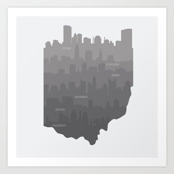 Ohio Skylines: Gray Variant Art Print