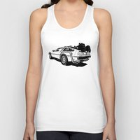 delorean Tank Tops featuring DeLorean / BW by CranioDsgn
