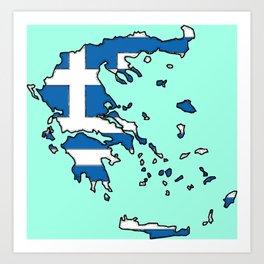 Greece Map with Greek Flag Art Print