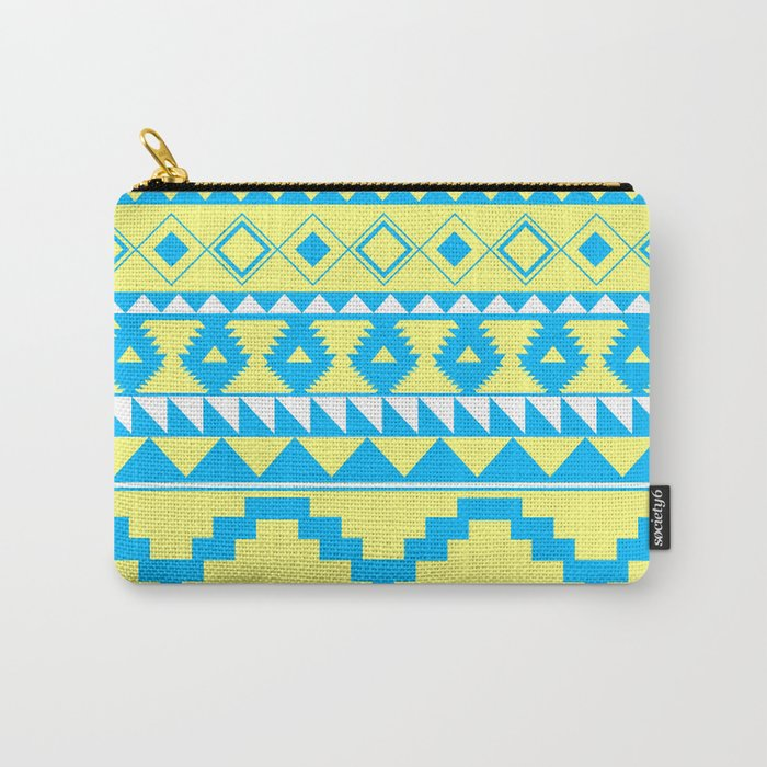 Aztec Pattern 2 Blue & Yellow Carry-All Pouch
