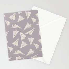 Paper Planes Pattern | White and Pink Grey Stationery Cards