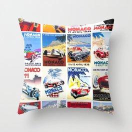 Monaco Grand Prix 1930 1966 Throw Pillow