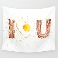 bacon Wall Tapestries featuring Bacon by Olechka