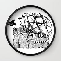 pirate ship Wall Clocks featuring Pirate Ship by Addison Karl