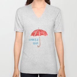 Books and Rain Unisex V-Neck
