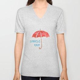Books and Rain Unisex V-Neck