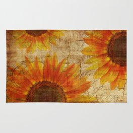Rustic Sunflowers Yellow Orange Brown Rug