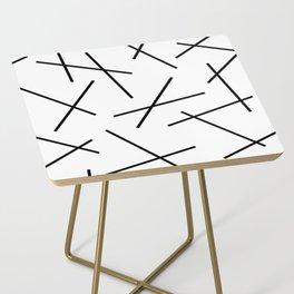 Black and white mikado stripes dash pattern Side Table