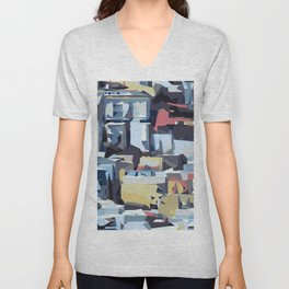red blue pink and yellow drawing and painting abstract background Unisex V-Neck