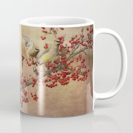 Cedar Waxwings Gathering Coffee Mug