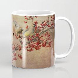 Cedar Waxwings Gathering Coffee Mug