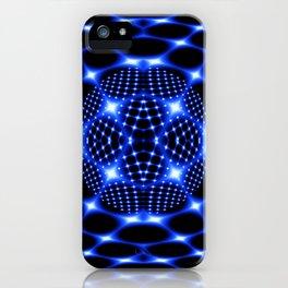 Neon blue glob fractal iPhone Case