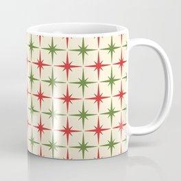Midcentury Modern Atomic Age Christmas Starburst Pattern in Retro Xmas Red, Olive Green, and Cream Coffee Mug