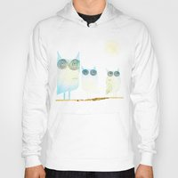 owls Hoodies featuring Owls by Brontosaurus