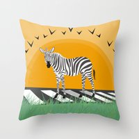zebra Throw Pillows featuring Zebra by Nir P