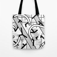 8 bit Tote Bags featuring 8 bit by Bomburo