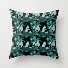 Midnight Iris / Black Throw Pillow