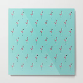 Flamingo Monogram- Teal Metal Print