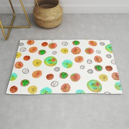 Whimsical Watercolor Suns Circus Colors Rug