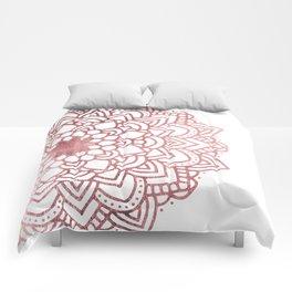 Elegant faux rose gold floral mandala Comforters
