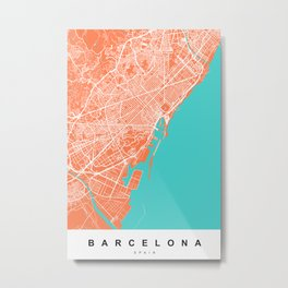 Barcelona Map | Spain | Coral & Turquoise Colors Metal Print