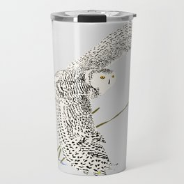 The snowy owl in flight with his wing touching the snow Travel Mug