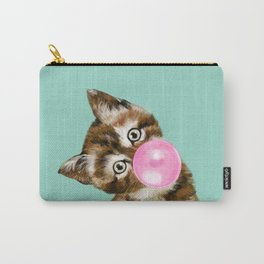 Bubble Gum Baby Cat in Green Carry-All Pouch