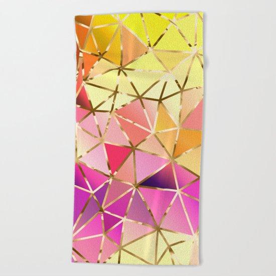 Rainbow Geometric pattern #5 Beach Towel