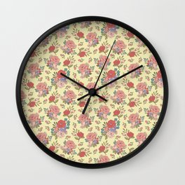 Vintage Florals: Yellow Wall Clock