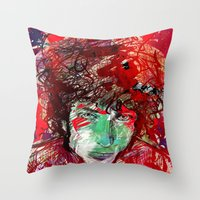 bob dylan Throw Pillows featuring Bob Dylan by Irmak Akcadogan