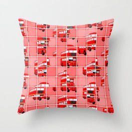 London Bus Pixel Puzzle Throw Pillow