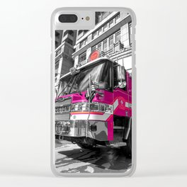 Pink Fire Truck Clear iPhone Case