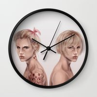 snk Wall Clocks featuring Twins by emametlo