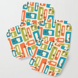Retro Mid Century Modern Abstract Pattern 921 Orange Chartreuse Turquoise Coaster