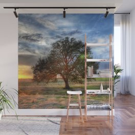 Lonely tree in a field Wall Mural