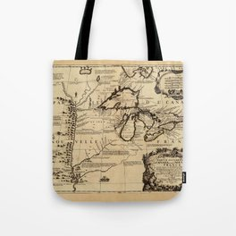 Map Of The Great Lakes 1688 Tote Bag