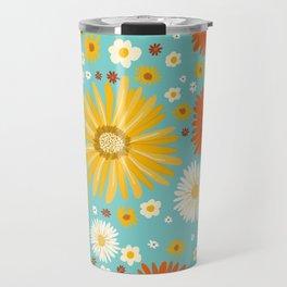 Happy Daisies Pattern on Light Blue Travel Mug