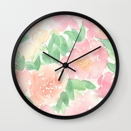 Pink Peonies and Roses Wall Clock